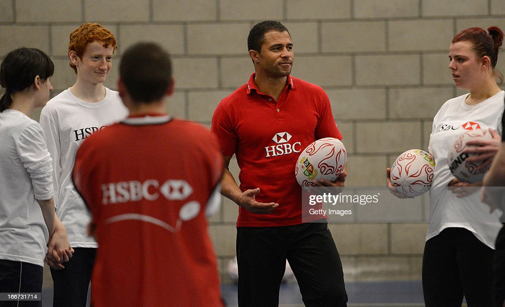 Ambassador and former dual-code rugby legend Jason Robinson coaches young people from the Prince's Trust Fairbridge programme during a Rugby themed coaching session at Newcastle University on April 16, 2013 in Newcastle upon Tyne, England.