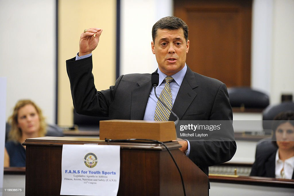 NHL ambassador and Hockey Hall of Famer Pat LaFontaine participates in an announcement on Capitol Hill made by U.S. Mike McIntyre (D-NC), Founder and Co-Chairman of the Congressional Caucus on Youth Sports on July 27, 2011 at the Rayburn House Office Building in Washington, DC