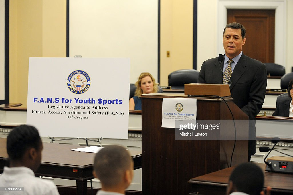 NHL ambassador and Hockey Hall of Famer <a gi-track='captionPersonalityLinkClicked' href=/galleries/search?phrase=Pat+LaFontaine&family=editorial&specificpeople=213982 ng-click='$event.stopPropagation()'>Pat LaFontaine</a> participates in an announcement on Capitol Hill made by U.S. Mike McIntyre (D-NC), Founder and Co-Chairman of the Congressional Caucus on Youth Sports on July 27, 2011 at the Rayburn House Office Building in Washington, DC