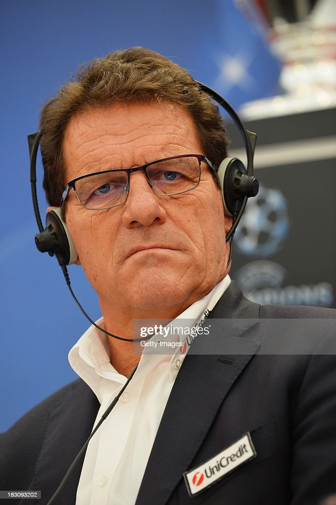 Ambassador and Manager of the Russian national team <a gi-track='captionPersonalityLinkClicked' href=/galleries/search?phrase=Fabio+Capello&family=editorial&specificpeople=241290 ng-click='$event.stopPropagation()'>Fabio Capello</a> looks on during the UEFA Champions League Trophy Tour on October 4, 2013 in Bucharest, Romania.
