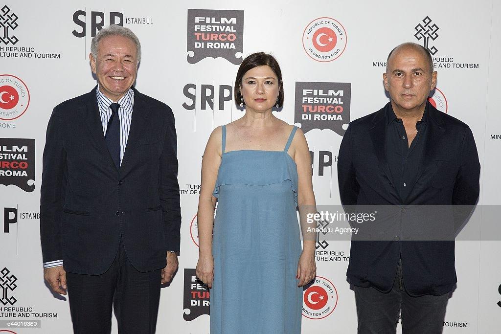 Ambassador Aydin Adnan Sezgin (L), organizer Serap Engin and director Ferzan Ozpetek attend Opening Ceremony of the V. Film Festival Turco at House of Cinema-Villa Borghese on June , 30, 2016 in Rome, Italy.