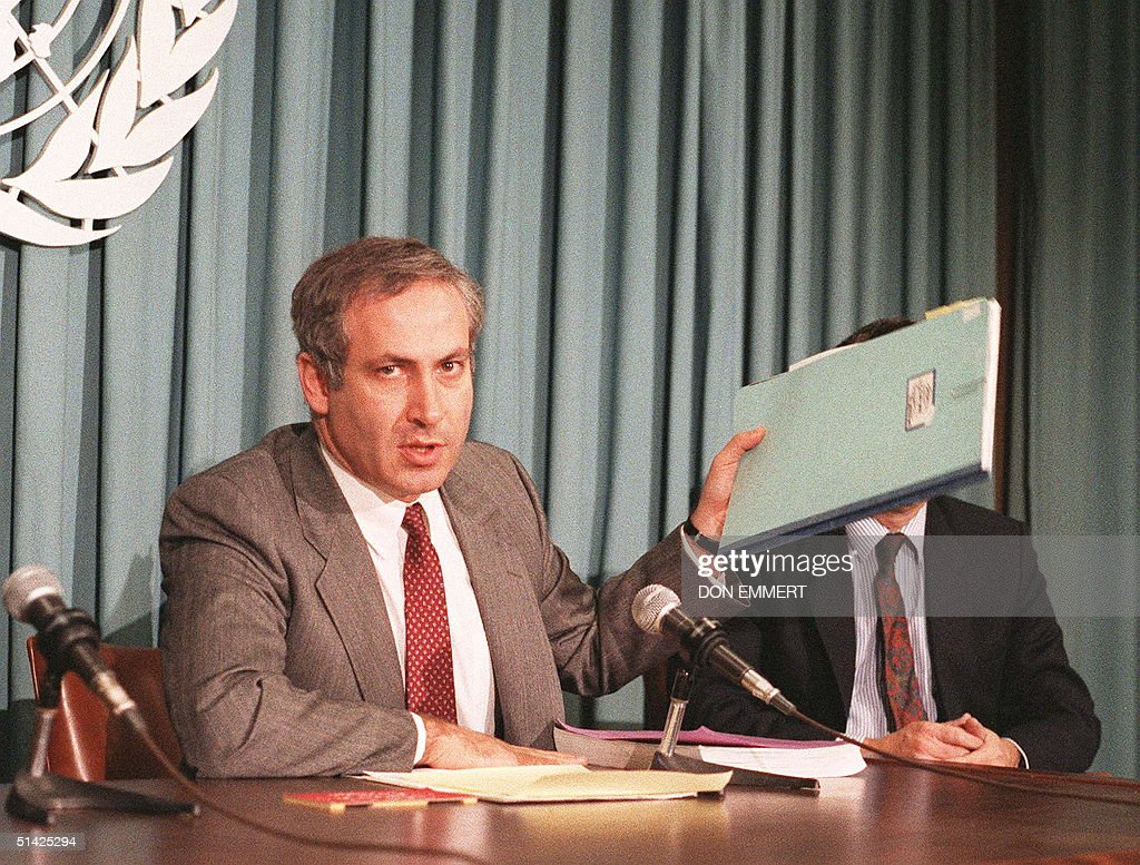 Ambassador Benjamin Netanyahu shown in a file photo dated 06 November 1987 when he was Israel's Permannt Representative to the United Nations holding...