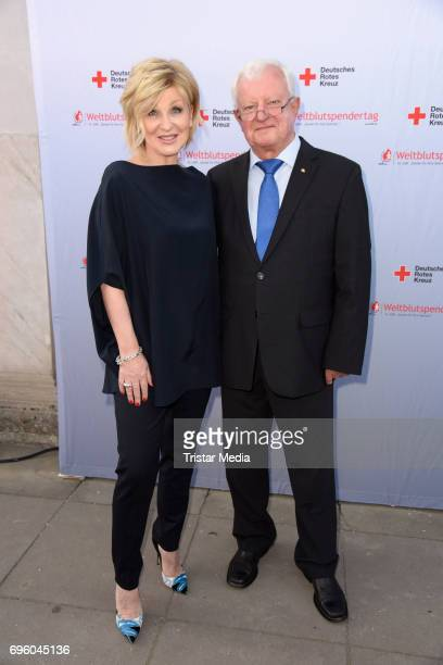 DRK ambassador Carmen Nebel and DRK president Rudolf Seiters during the photocall to the World Blood Donor Day at Schloss Charlottenburg on June 14...