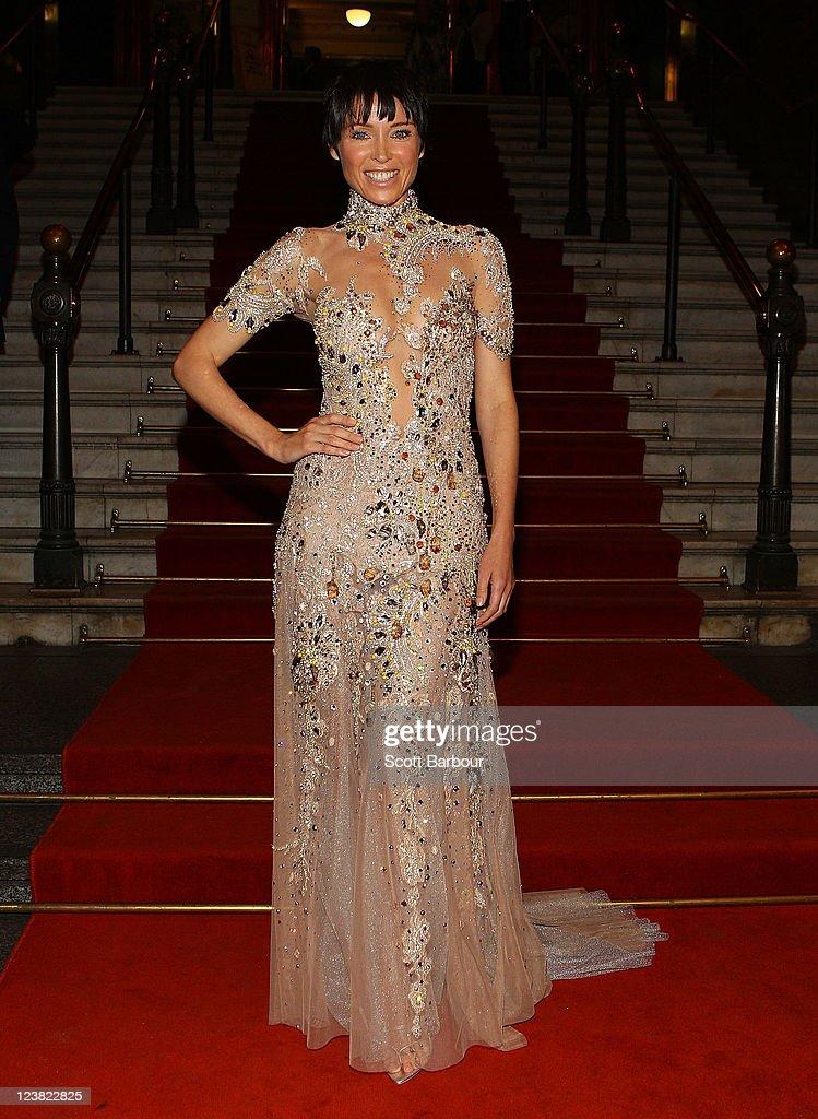 Ambassador, Dannii Minogue arrives at a function to unveil her favourite Melbourne Sriring Fashion Week 2011 looks at Melbourne Town Hall on September 5, 2011 in Melbourne, Australia.