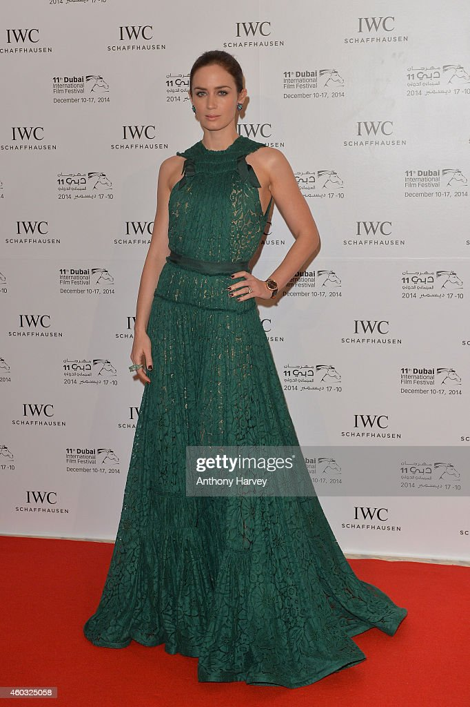 Ambassador <a gi-track='captionPersonalityLinkClicked' href=/galleries/search?phrase=Emily+Blunt&family=editorial&specificpeople=213480 ng-click='$event.stopPropagation()'>Emily Blunt</a> during the IWC Filmmaker Award Night 2014 at The One & Only Royal Mirage on December 11, 2014 in Dubai, United Arab Emirates.