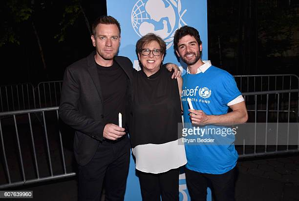 UNICEF Ambassador Ewan McGregor US Fund for UNICEF President and CEO Caryl Stern and theater actor Adam Kantor attend US Fund for UNICEF as it calls...
