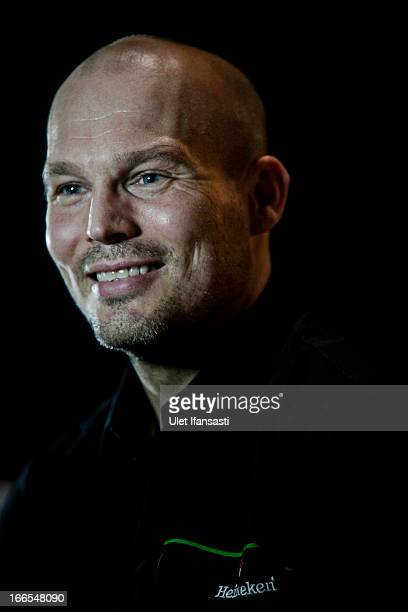 Ambassador Fredrik Ljungberg attends a press conference during the UEFA Champions League Trophy Tour 2013 presented by Heineken at Gandaria City...