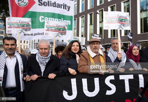 Ambassador from Palestine to the UK Manuel Hassassian joins a national march through central London England on November 4 2017 as they demand justice...