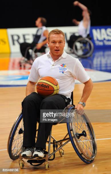 BT Ambassador Great Britain's Chris Hoy plays in a wheelchair basketball training game during the BT Paralympic World Cup Preview Day at the...