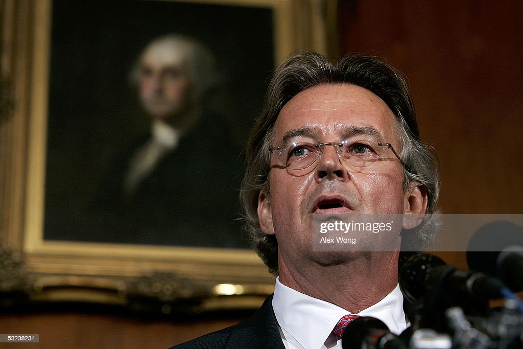 Ambassador Joseph Wilson husband of former CIA agent Valerie Plame speaks during a news conference on Capitol Hill July 14 2005 in Washington DC...