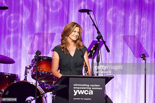 Ambassador Kathy Ireland speaks at the YWCA 13th Annual Rhapsody Gala at the Beverly Wilshire Four Seasons Hotel on November 13 2015 in Beverly Hills...