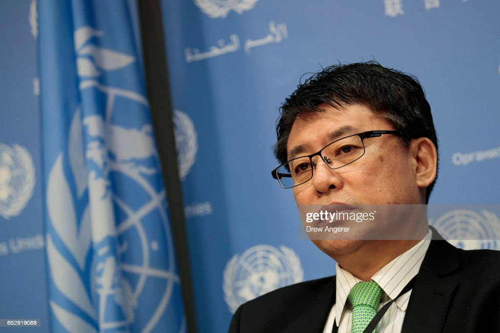Ambassador Kim In Ryong, Deputy Permanent Representative to the United Nations for the Democratic People's Republic of Korea (North Korea), listens to a question during a press conference at the United Nations, March 13, 2017 in New York City. Amid fears of their growing ballistic missile programs, global tensions have been rising with North Korea.