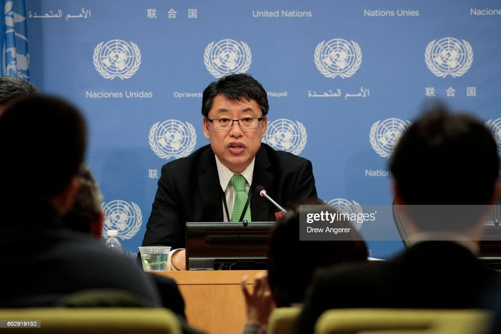 Ambassador Kim In Ryong, Deputy Permanent Representative to the United Nations for the Democratic People's Republic of Korea (North Korea), speaks during a press conference at the United Nations, March 13, 2017 in New York City. Amid fears of their growing ballistic missile programs, global tensions have been rising with North Korea.