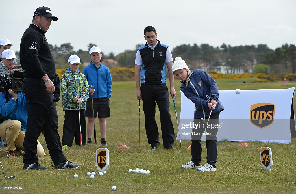 UPS Ambassador <a gi-track='captionPersonalityLinkClicked' href=/galleries/search?phrase=Lee+Westwood&family=editorial&specificpeople=171611 ng-click='$event.stopPropagation()'>Lee Westwood</a> of England at a local schools golf clinic as he hands over Ping junior golf sets during the Bags 4 Birdies Campaign at Royal Troon on May 6, 2016 in Troon, Scotland.