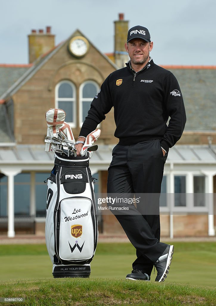 UPS Ambassador Lee Westwood of England poses for a photograph ahead of a local schools golf clinic as he hands over Ping junior golf sets during the Bags 4 Birdies Campaign at Royal Troon on May 6, 2016 in Troon, Scotland.