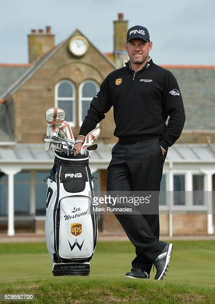 Ambassador Lee Westwood of England poses for a photograph ahead of a local schools golf clinic as he hands over Ping junior golf sets during the Bags...
