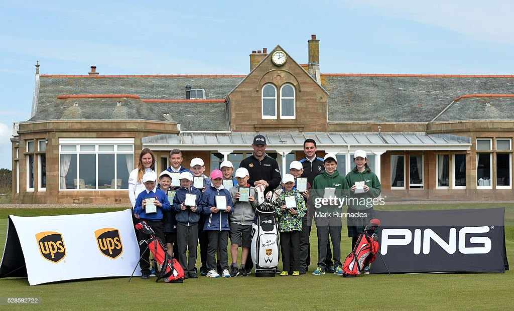 UPS Ambassador <a gi-track='captionPersonalityLinkClicked' href=/galleries/search?phrase=Lee+Westwood&family=editorial&specificpeople=171611 ng-click='$event.stopPropagation()'>Lee Westwood</a> of England poses for a photograph at a local schools golf clinic as he hands over Ping junior golf sets during the Bags 4 Birdies Campaign at Royal Troon on May 6, 2016 in Troon, Scotland.