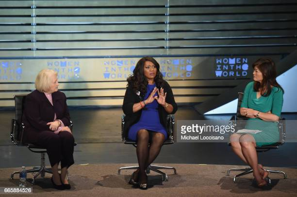 Ambassador Melannie Verveer Donna Hubbard and Juju Chang speak during the Eighth Annual Women In The World Summit at Lincoln Center for the...
