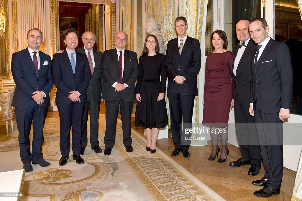 Ambassador of Albania in France, Dritan Tola, journalist <a gi-track='captionPersonalityLinkClicked' href=/galleries/search?phrase=Stephane+Bern&family=editorial&specificpeople=2143398 ng-click='$event.stopPropagation()'>Stephane Bern</a>, journalist <a gi-track='captionPersonalityLinkClicked' href=/galleries/search?phrase=Frederic+Mitterrand&family=editorial&specificpeople=621709 ng-click='$event.stopPropagation()'>Frederic Mitterrand</a>, politician <a gi-track='captionPersonalityLinkClicked' href=/galleries/search?phrase=Hubert+Vedrine&family=editorial&specificpeople=206779 ng-click='$event.stopPropagation()'>Hubert Vedrine</a>, Elia Zaharia, her fiance Prince Leka of Albania, Miss <a gi-track='captionPersonalityLinkClicked' href=/galleries/search?phrase=Hubert+Vedrine&family=editorial&specificpeople=206779 ng-click='$event.stopPropagation()'>Hubert Vedrine</a> (Michele), President of the Chamber of Commerce and Industry France-Albania Julien Roche and journalist Franck Ferrand attend Prince Leka of Albania announces his Wedding in Tirana on October 8, 2016 with his fiancee Elia Zaharia. Held at Cercle Interallie on March 17, 2016 in Paris, France.