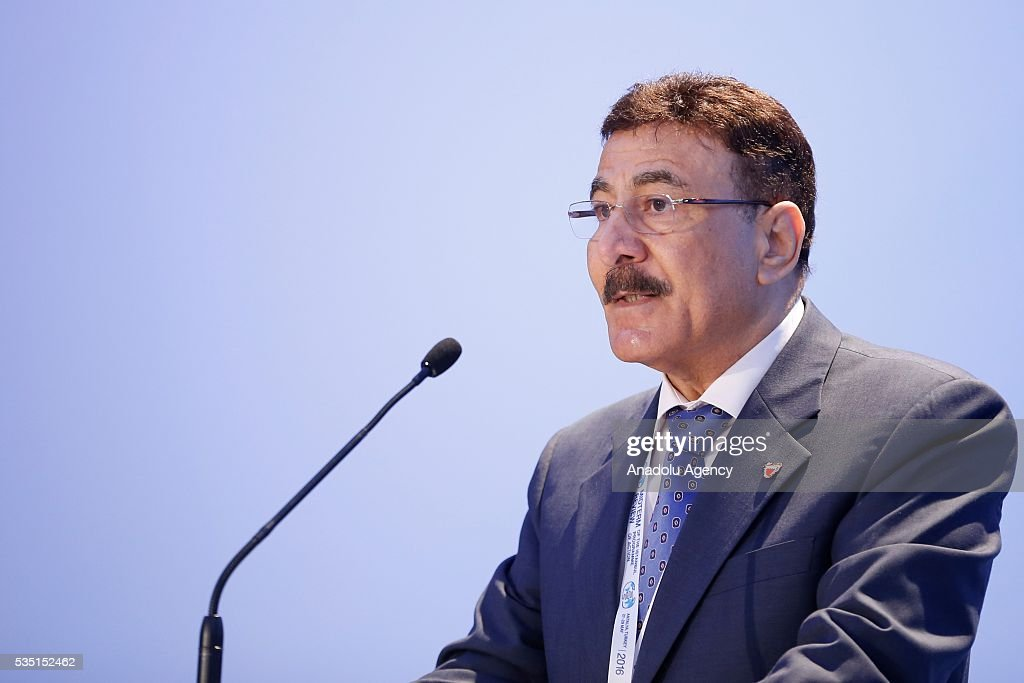 Ambassador of Bahrain to Turkey, Ebrahim Yusuf Al-Abdullah delivers a speech during the 5th general session within the Midterm Review of the Istanbul Programme of Action at Titanic Hotel in Antalya, Turkey on May 29, 2016. The Midterm Review conference for the Istanbul Programme of Action for the Least Developed Countries takes place in Antalya, Turkey from 27-29 May 2016.