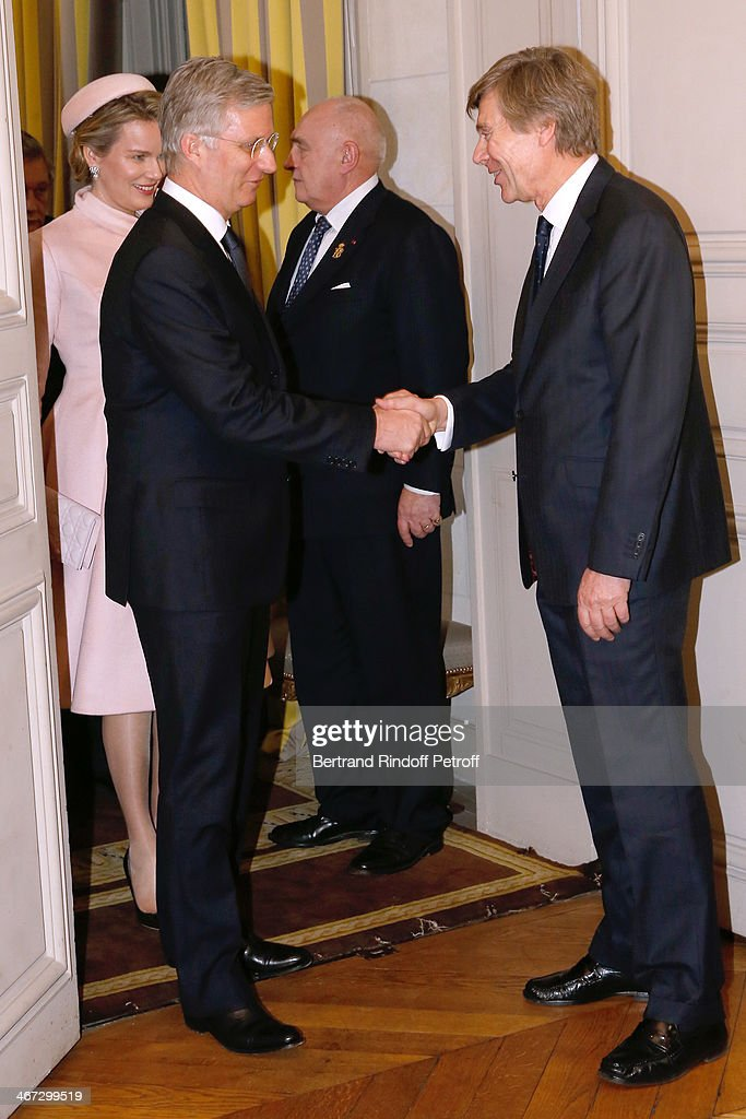 Ambassador of Belgium Patrick Vercauteren Drubbel (R) with the King <a gi-track='captionPersonalityLinkClicked' href=/galleries/search?phrase=Philippe+of+Belgium&family=editorial&specificpeople=160209 ng-click='$event.stopPropagation()'>Philippe of Belgium</a> and Queen Mathilde Of Belgium during their visit to the Residence of the Ambassador of Belgium on a One Day Official Visit on February 6, 2014 in Paris, France.