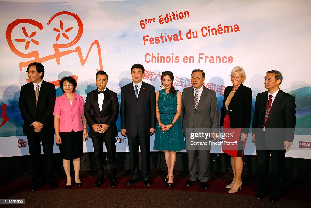 Ambassador of Cina in paris, Zhai Jun, a guest, Actor Donnie Yen, Vice-Minister of SAPPFRT, Tong Gang, Actress Michelle Yeoh, Deputy Director General of the Office of Film in SAPPRFT, Luan Guozhi, General Director of Hotel 'Le Meurice', Franka Holtmann and Co-President of the Festival and Director of 'China Cultural Centre in Paris', Su Xu attend the 6th Chinese Film Festival