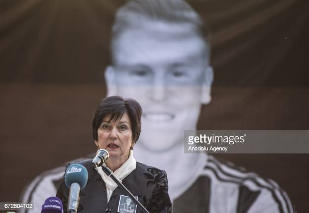 Ambassador of Czech Republic Maria Opelova speaks during a memorial ceremony held for Czech football player Frantisek Rajtoral who was found dead...