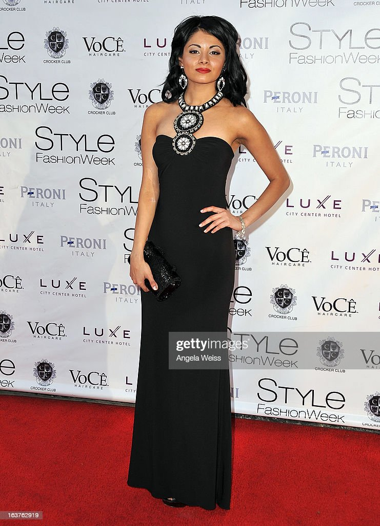 Ambassador of Fashion Hope Zara Duranni arrives at the Madisonpark Collective 2013 fashion show as part of Los Angeles Fashion Week at Vibiana on March 14, 2013 in Los Angeles, California.