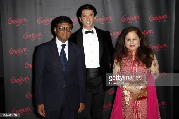 Ambassador of India in France Mohan Kumar and his wife attend Ranveer Singh Wax Work unveiling at Musee Grevin on July 6 2017 in Paris France