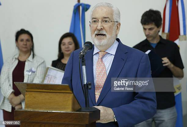 Ambassador of Spain Estanislao de Grandes Pascual speaks during the delivery of repaired files to the descendants of 20 disappeared railway workers...