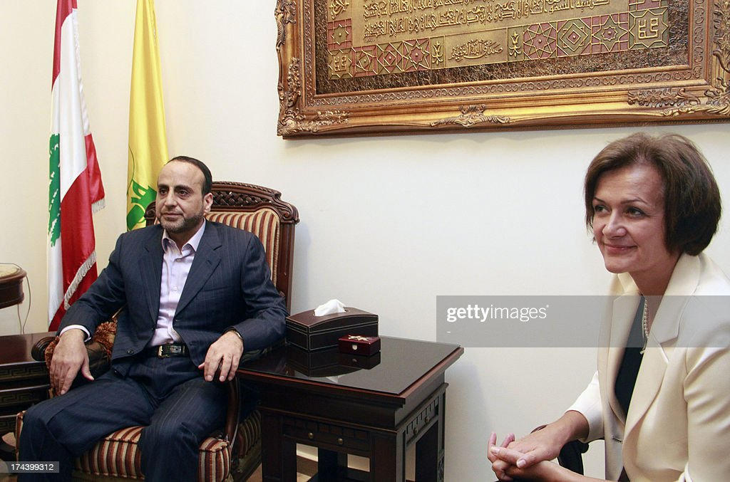 Ambassador of the European Union to Lebanon, Angelina Eichhorst meets with head of Hezbollah's International Relations, Ammar al-Mussawi (L) following European Union's decision to blacklist Hezbollah's armed wing on July 25, 2013 in the Lebanese capital Beirut.
