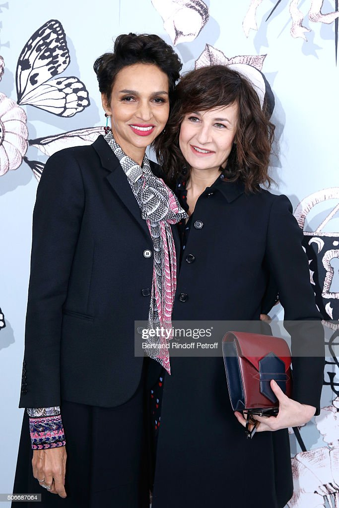 Ambassador of the house Schiaparelli Farida Khelfa and Actress Valerie Lemercier attend the Schiaparelli Haute Couture Spring Summer 2016 show as...