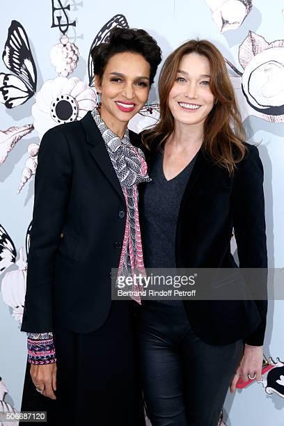 Ambassador of the house Schiaparelli Farida Khelfa and Singer Carla Bruni Sarkozy attend the Schiaparelli Haute Couture Spring Summer 2016 show as...