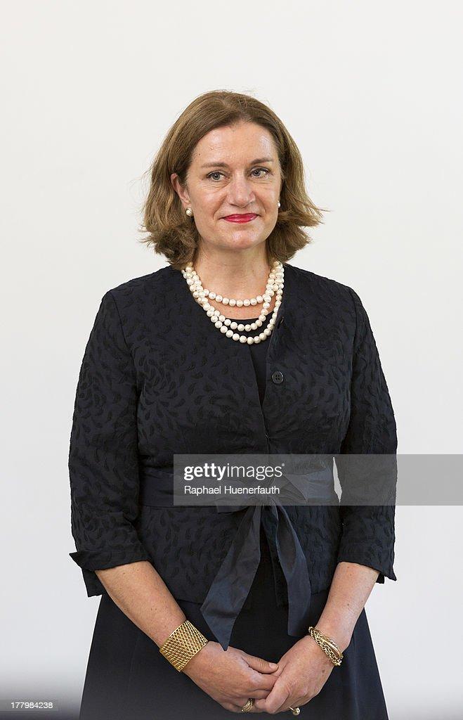 Ambassador of the Kingdom of the Netherlands Monica Theodora Geertruida van Daalen while the reception to receive their credentials through German President Joachim Gauck on August 26, 2013 in Schloss Bellevue in Berlin, Germany.