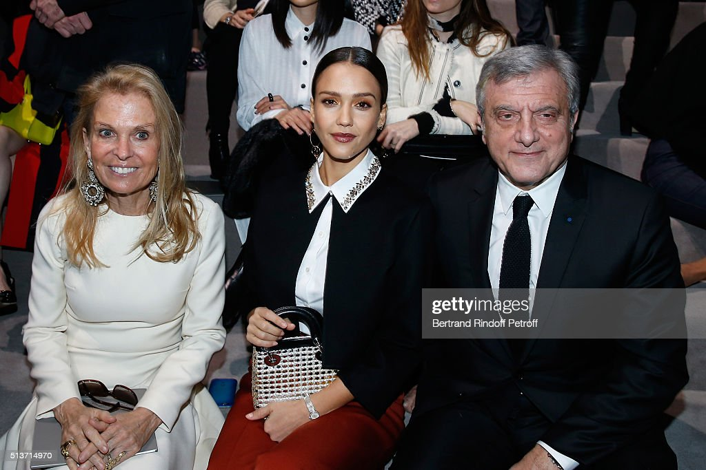 Ambassador of USA in France, Jane D. Hartley, Jessica Alba and CEO Dior, Sidney Toledano attend the Christian Dior show as part of the Paris Fashion Week Womenswear Fall/Winter 2016/2017 on March 4, 2016 in Paris, France.