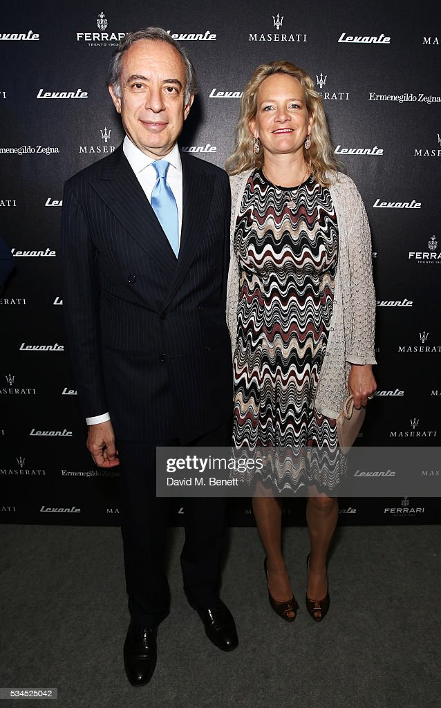 Ambassador Pasquale Terracciano (L) and Karen Terracciano attend the UK VIP reveal of the Maserati Levante SUV at The Royal Horticultural Halls on May 26, 2016 in London, England.