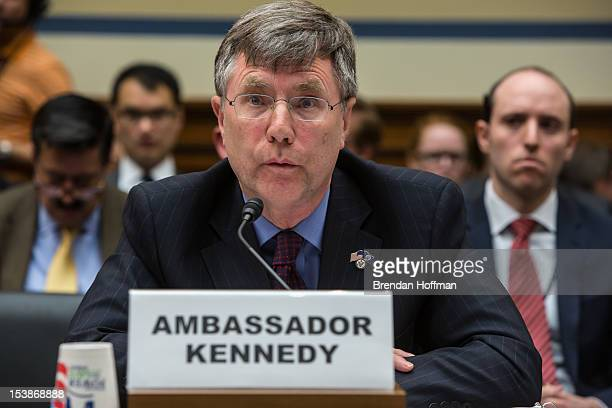 Ambassador Patrick Kennedy Under Secretary for Management at the US Department of State testifies on Capitol Hill on October 10 2012 in Washington DC...