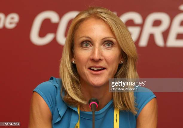 Ambassador Paula Radcliffe speaks during a 49th IAAF Congress press conference at the Crowne Plaza on August 7 2013 in Moscow Russia