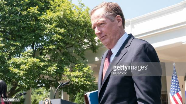 Ambassador Robert Lighthizer US Trade Representative was present for the joint press conference of President Trump and President Moon of the Republic...