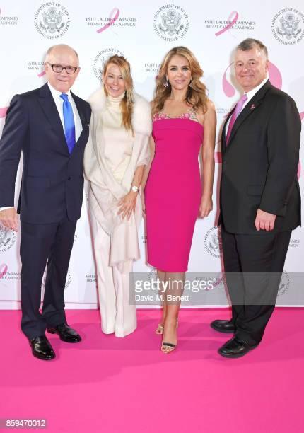 Ambassador Robert W Johnson US Ambassador to the UK wife Suzanne Johnson Elizabeth Hurley and William P Lauder Executive Chariman of The Estee Lauder...