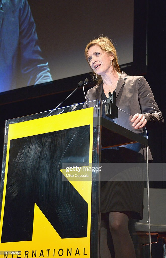 UN Ambassador <a gi-track='captionPersonalityLinkClicked' href=/galleries/search?phrase=Samantha+Power&family=editorial&specificpeople=2541335 ng-click='$event.stopPropagation()'>Samantha Power</a> speaks onstage at the Annual Freedom Award Benefit hosted by the International Rescue Committee at the Waldorf-Astoria hotel on November 6, 2013 in New York City.