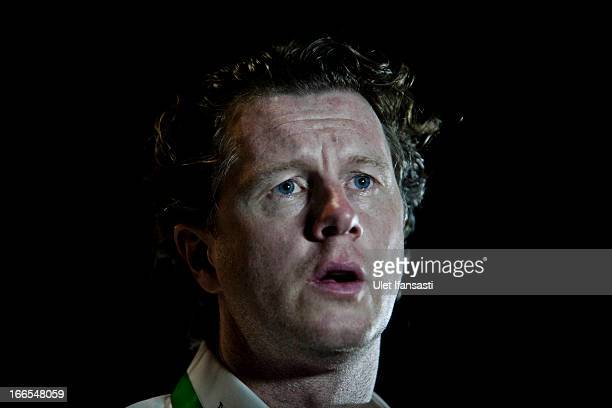 Ambassador Steve McManaman attends a press conference during the UEFA Champions League Trophy Tour 2013 presented by Heineken at Gandaria City...