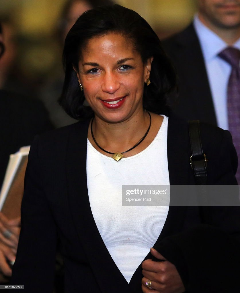 U.N. Ambassador Susan Rice leaves following a General Assembly vote granting Palestinians non-member observer status on November 29, 2012 in New York City. The resolution was approved by the 193-member body by a vote of 138-9, with 41 abstentions. The United States, Israel, Canada and a handful of others voted against Thursday's historic UN resolution.