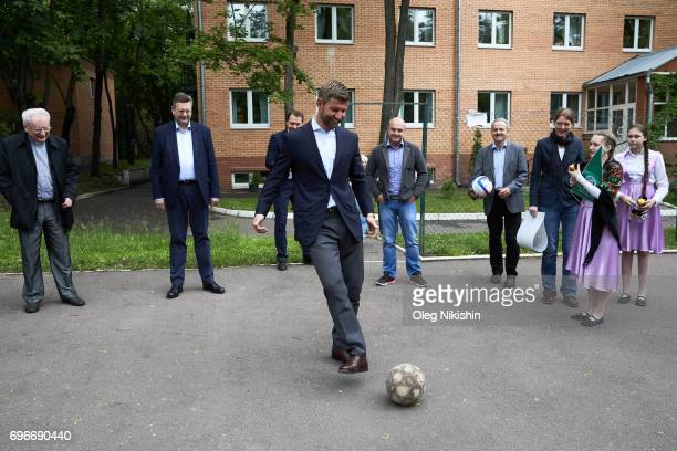Ambassador Thomas Hizlspergers visits The Don Bosco Children's Home on June 16 2017 in Moscow Russia