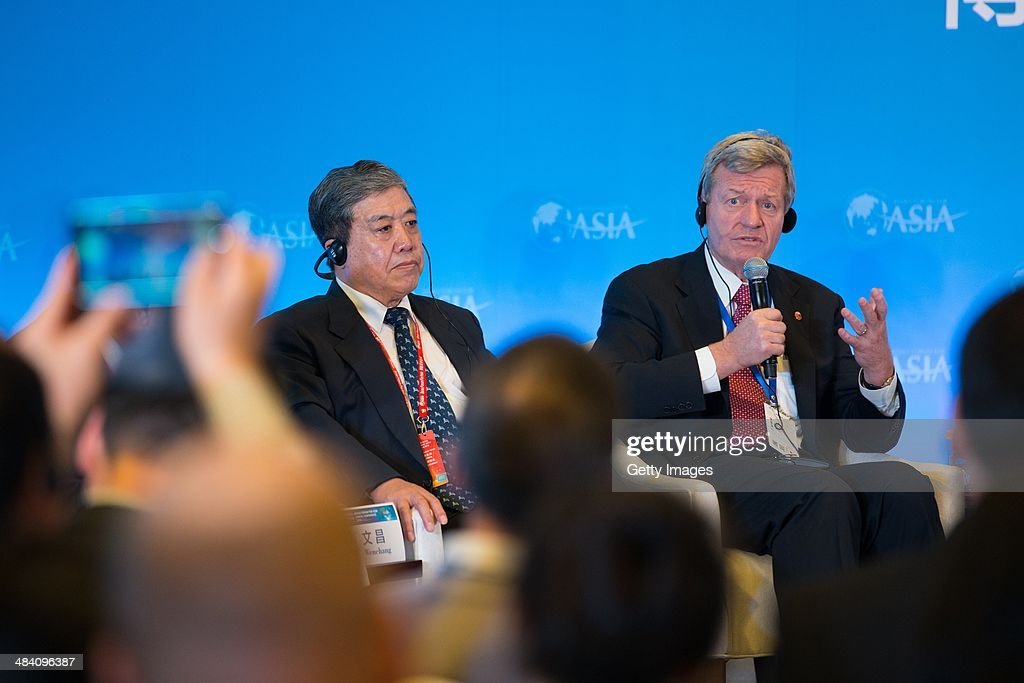 U.S. ambassador to China <a gi-track='captionPersonalityLinkClicked' href=/galleries/search?phrase=Max+Baucus&family=editorial&specificpeople=242972 ng-click='$event.stopPropagation()'>Max Baucus</a> attends the 'China and the Unites States: Positive Interaction in the Asia Pacific' session as a part of the Boao Forum For Asia Annual Conference 2014 at the BFA international Convention Center on April 11, 2014 in Boao, China. The Boao Forum for Asia (BFA) Annual Conference this year will be held from April 8 to 11, with the theme of 'Asia's New Future: Identifying New Growth Drivers'.