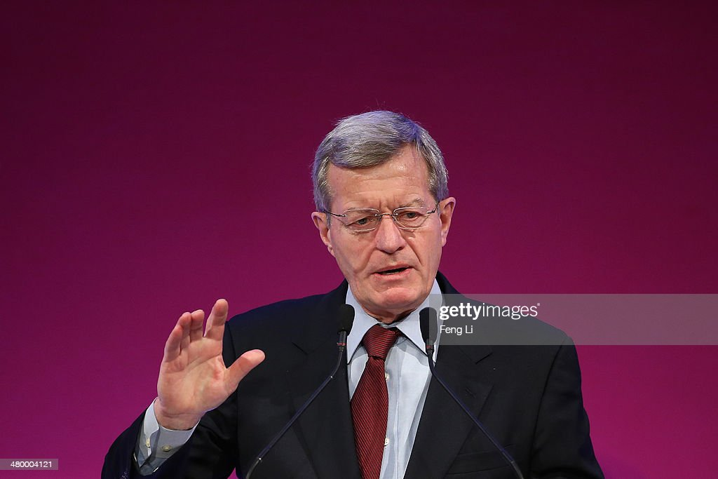 U.S. Ambassador to China <a gi-track='captionPersonalityLinkClicked' href=/galleries/search?phrase=Max+Baucus&family=editorial&specificpeople=242972 ng-click='$event.stopPropagation()'>Max Baucus</a> speaks before First Lady Michelle Obama delivers a speech at the Stanford Center at Peking University on March 22, 2014 in Beijing, China. Michelle Obama's one-week-long visit in China will be focused on educational and cultural exchanges.