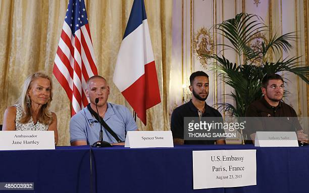 US ambassador to France Jane Hartley offduty US servicemen Spencer Stone Anthony Sadler and Alek Skarlatos attend a press conference at the US...
