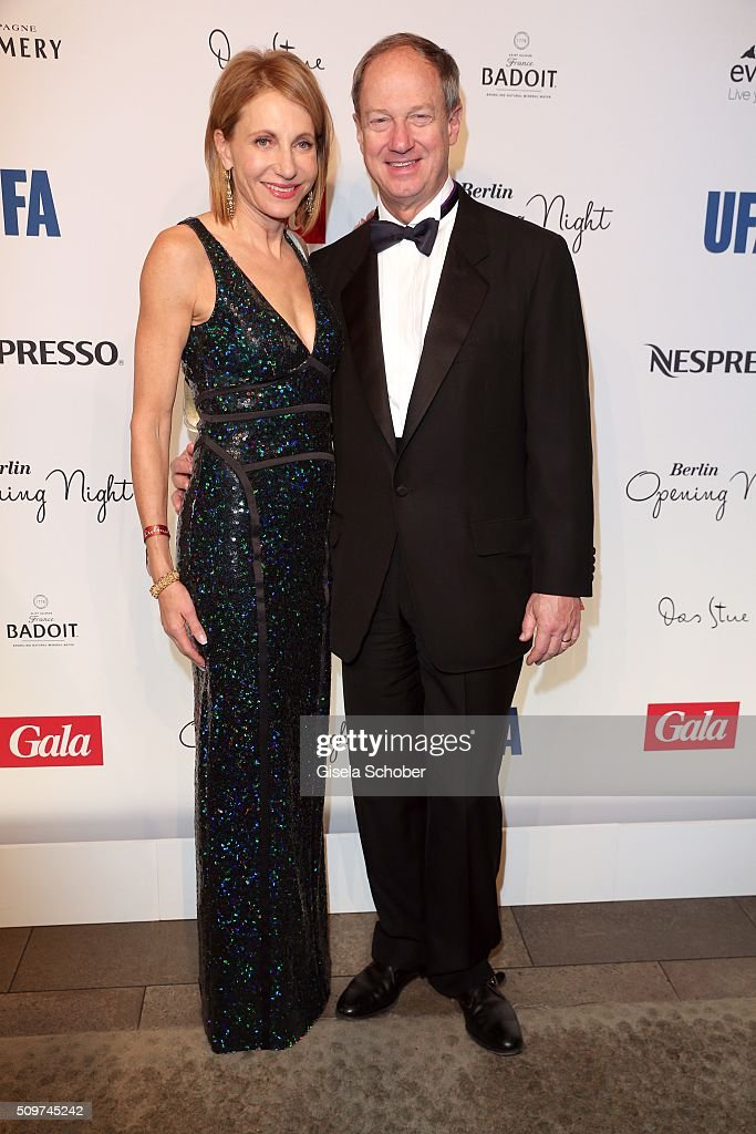 US ambassador to Germany John B. Emerson (R) and his wife Kimberly Marteau Emerson during the 'Berlin Opening Night of GALA & UFA Fiction' at Das Stue Hotel on February 11, 2016 in Berlin, Germany.