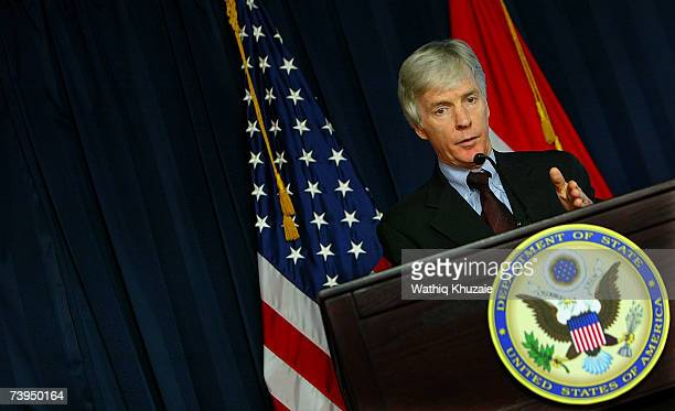 Ambassador to Iraq Ryan C Crocker speaks during a press conference on April 23 2007 in Baghdad Iraq In his first press conference in Baghdad's...