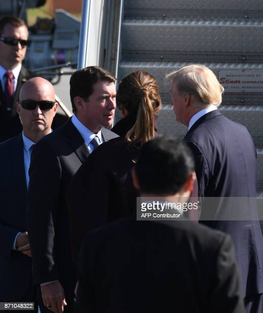 US Ambassador to Japan Bill Hagerty bids fairwell to US President Donald Trump and First Lady Melania prior their departure from US Yokota Air Base...